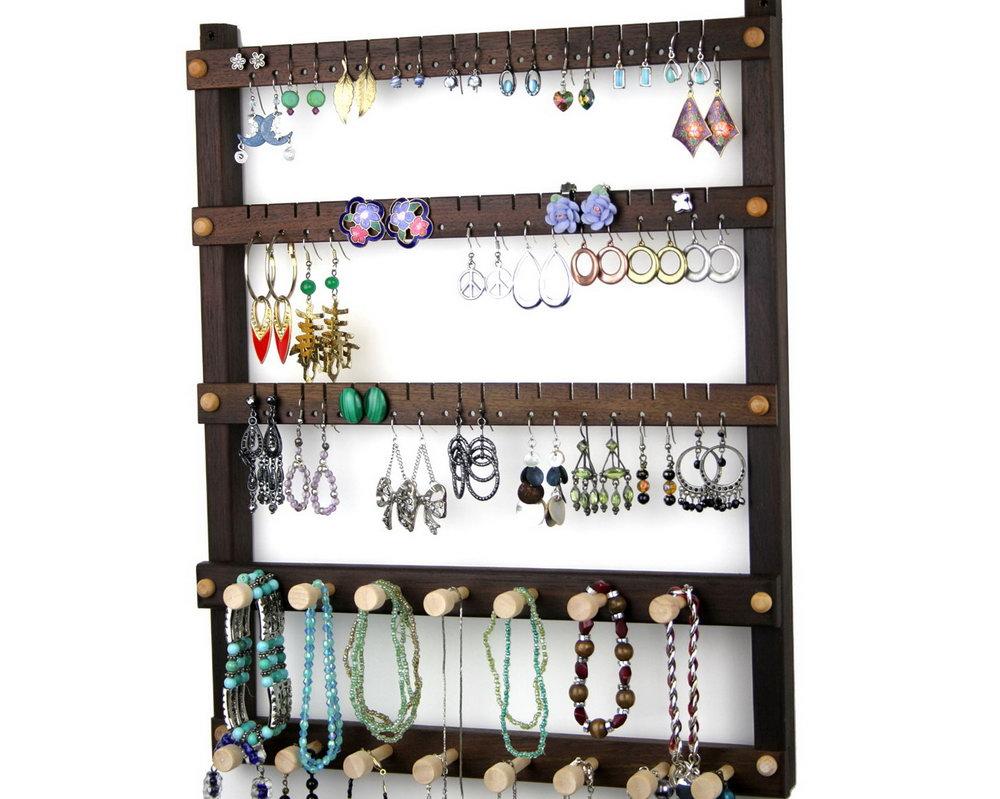 Hanging Wood Jewelry Organizer