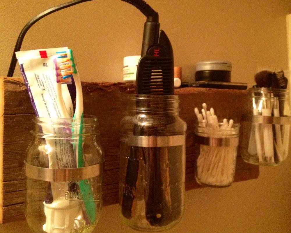 Mason Jar Organizer Bathroom