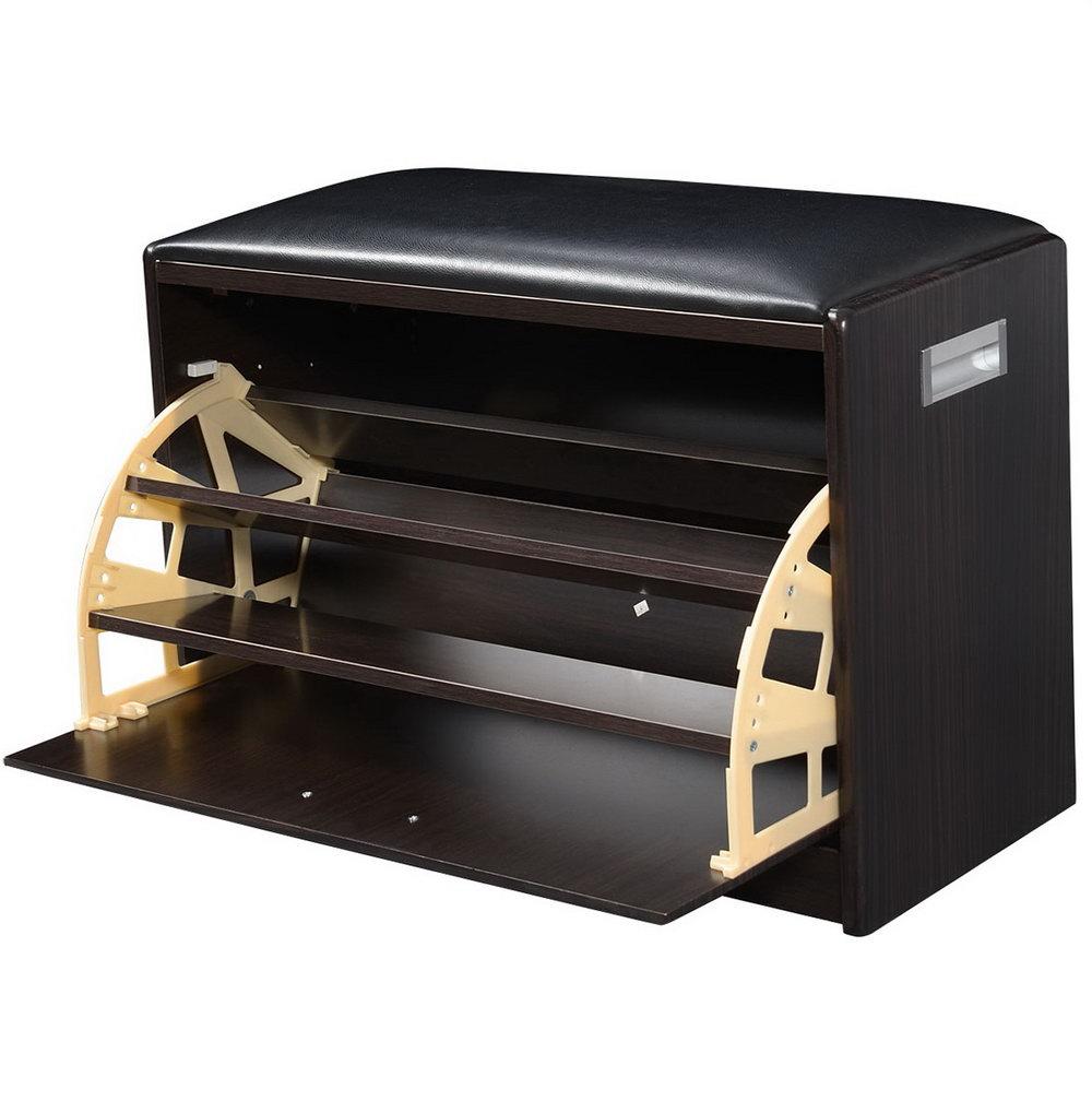 Wood Shoe Organizer Storage Ottoman Bench Cabinet Closet Shelf Rack Entryway