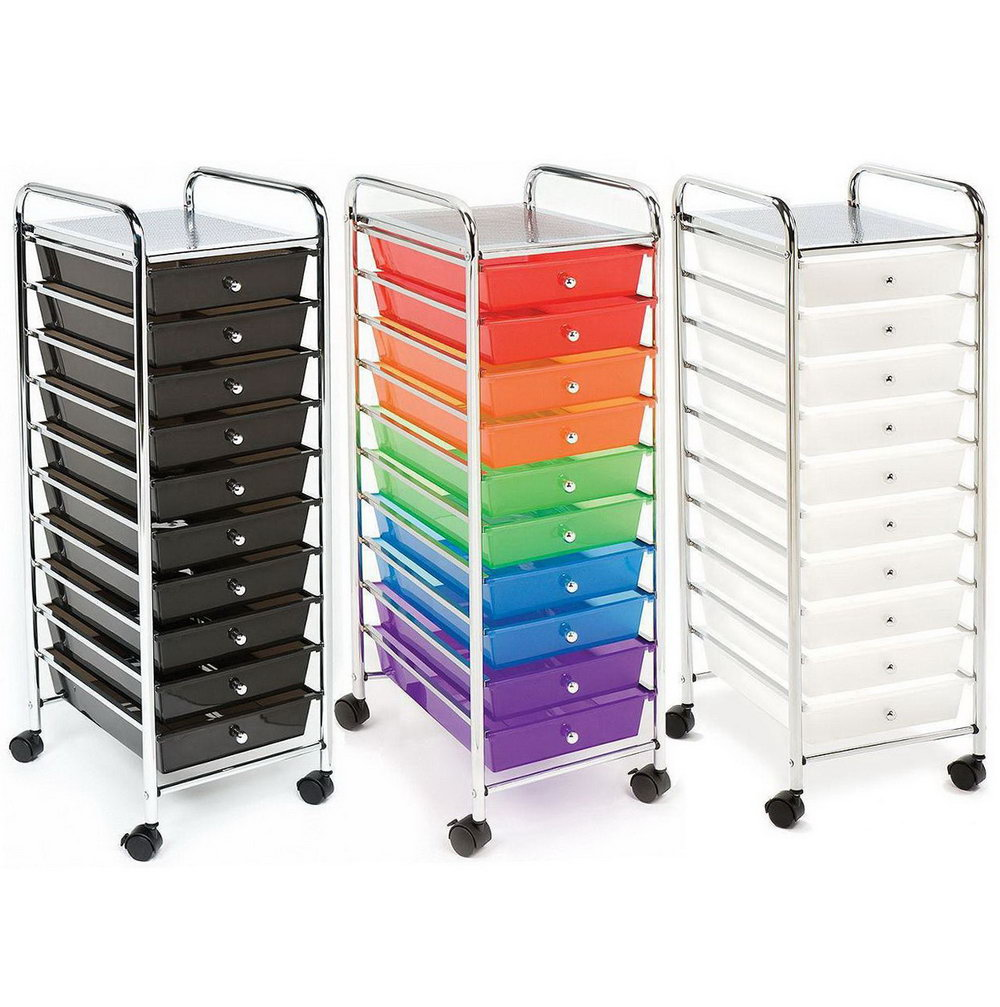 Seville Classics 10 Drawer Organizer Cart Multi Color