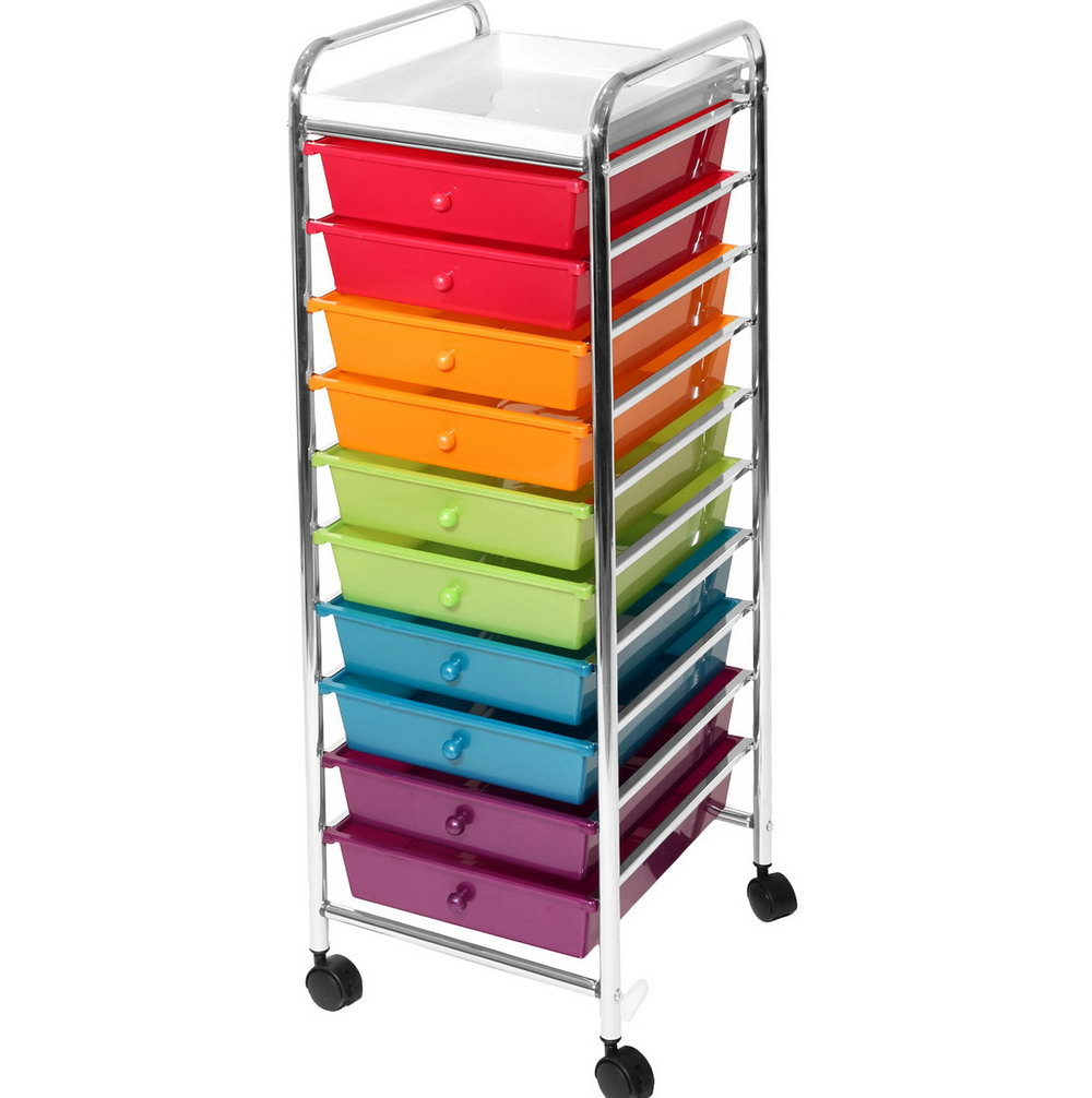 Seville Classics 10 Drawer Organizer Cart With Drawers Pearlized Multi Color