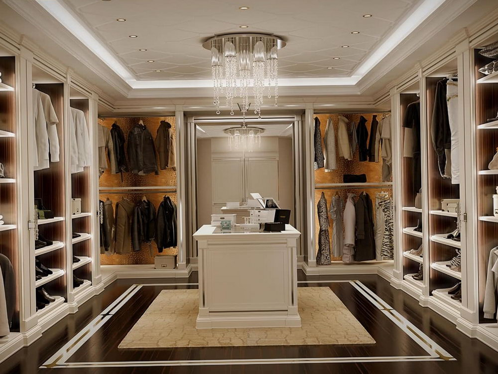 Modern Walk In Closet With Island