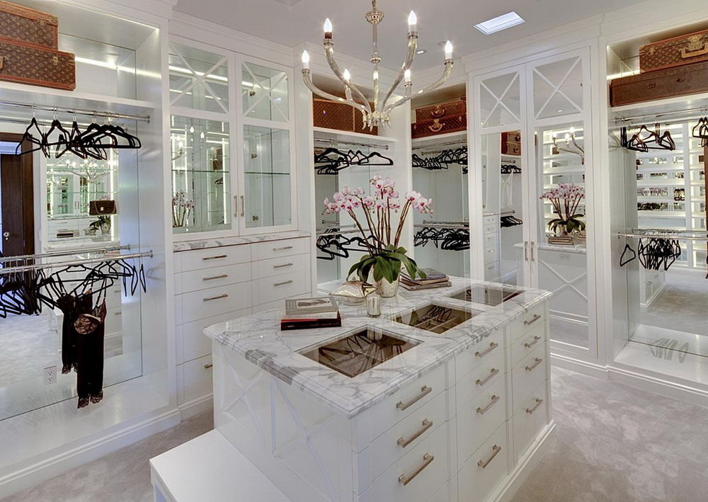 Luxury Walk In Closet With Island