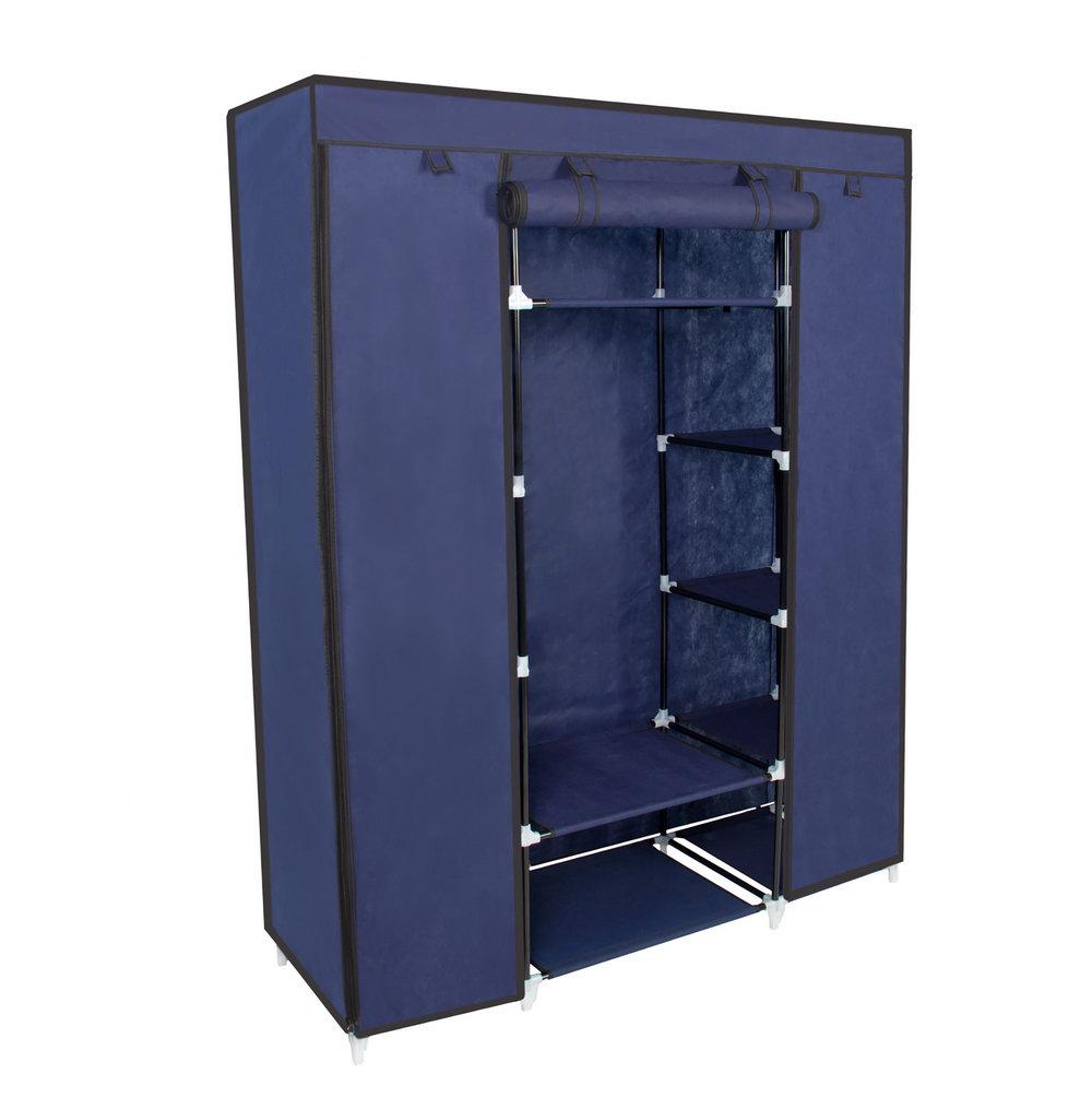 Portable Closet Storage Organizer Wardrobe Clothes Rack With Shelves