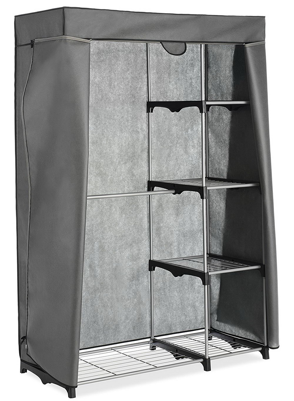 Whitmor Double Rod Freestanding Closet Silver Black