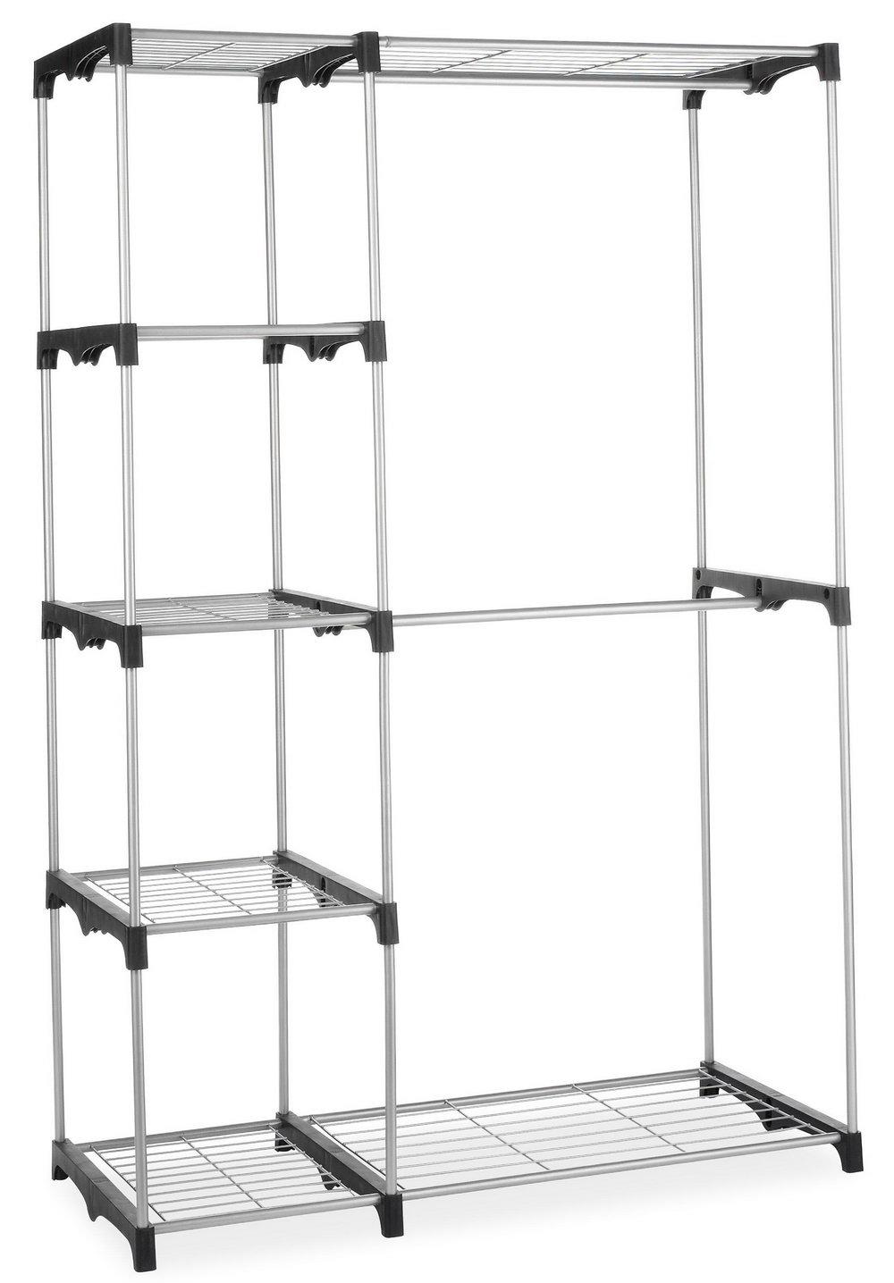 Whitmor Double Rod Freestanding Closet Silver