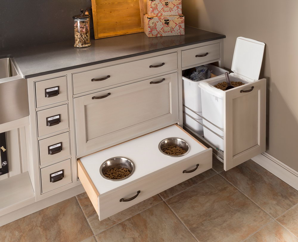 Dog Food Storage Cabinet With Bowls