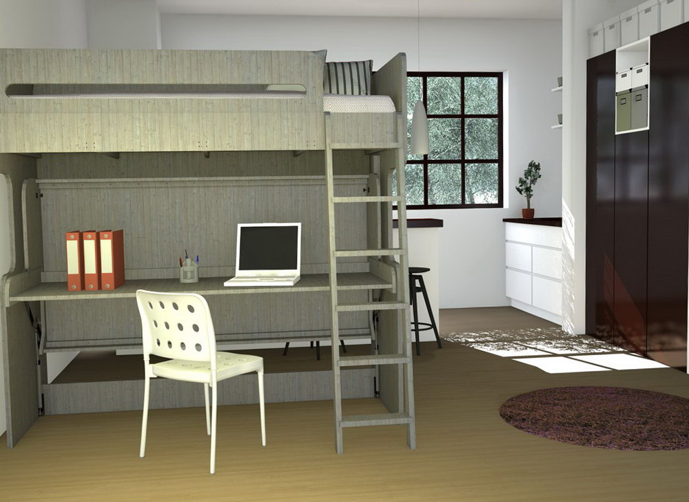Double Deck Bed With Closet