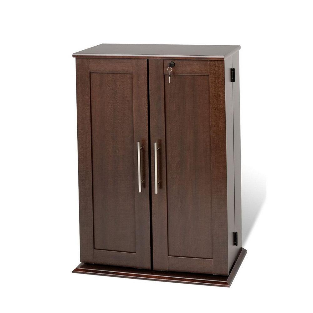 Media Storage Cabinet With Locking Doors