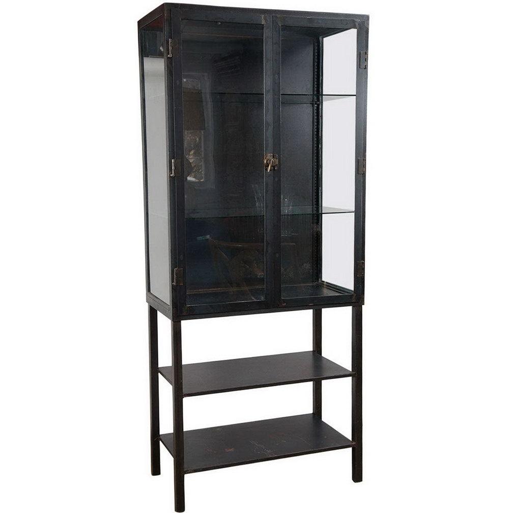 Metal Glass Storage Cabinet