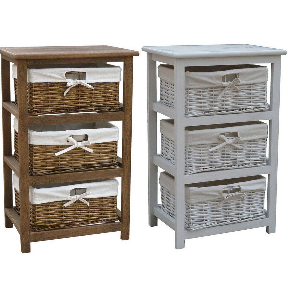 Oak Storage Cabinet With Wicker Baskets