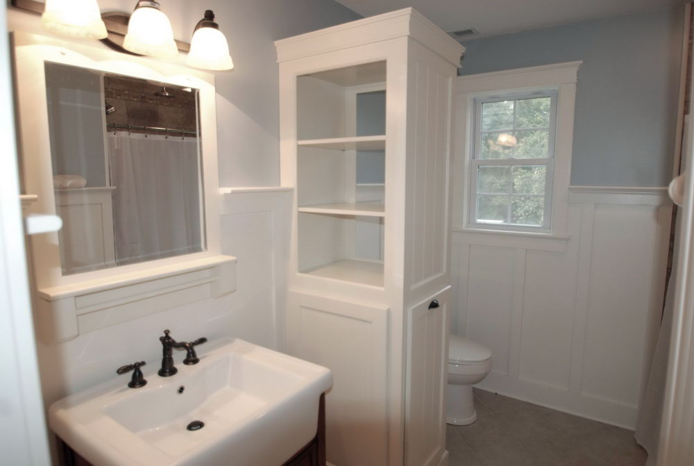 Open Linen Closet In Bathroom