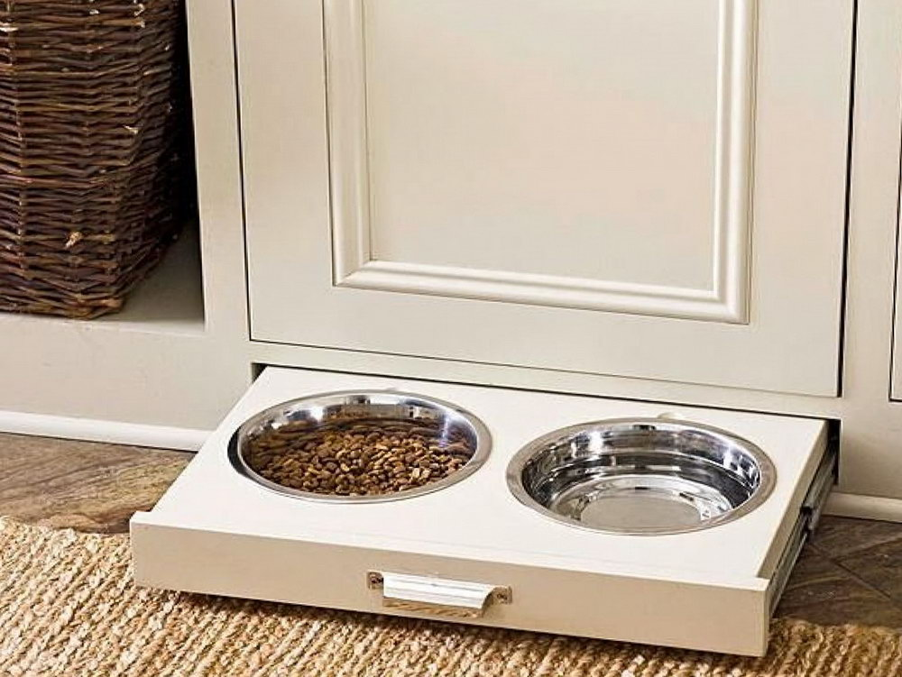 Pet Food Storage Cabinet With Bowls