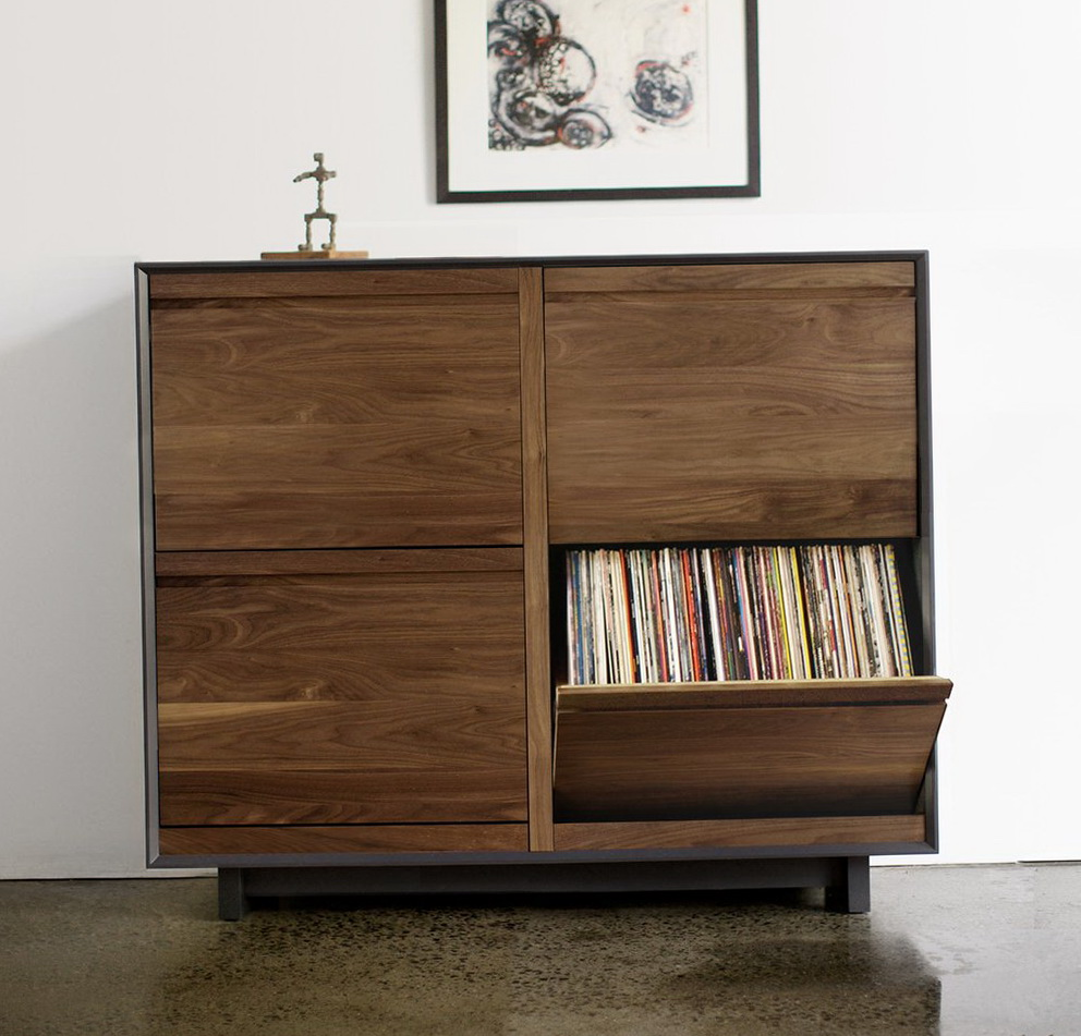 Record Player Storage Cabinet