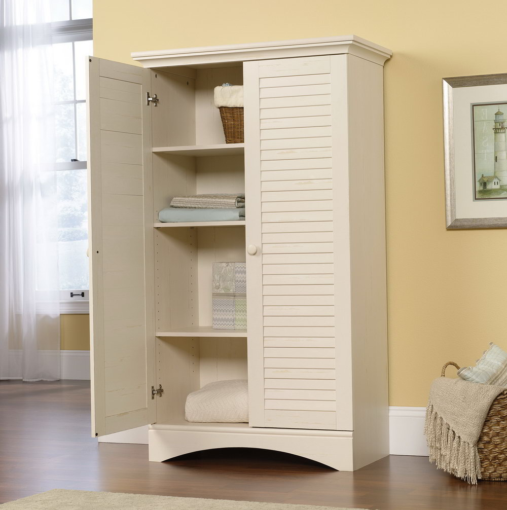 Sauder Harbor View Storage Cabinet Antiqued White