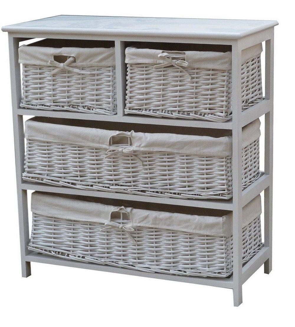 Storage Cabinet With Wicker Baskets