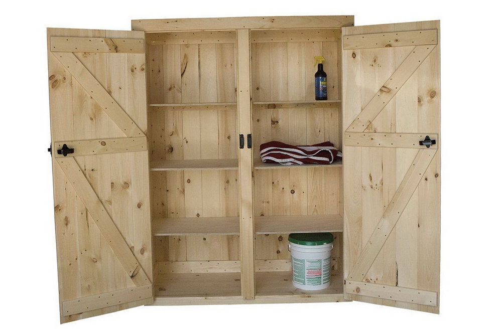 Wood Storage Cabinet With Doors And Shelves