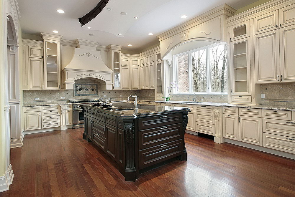 Antique White Kitchen Cabinets With Dark Island