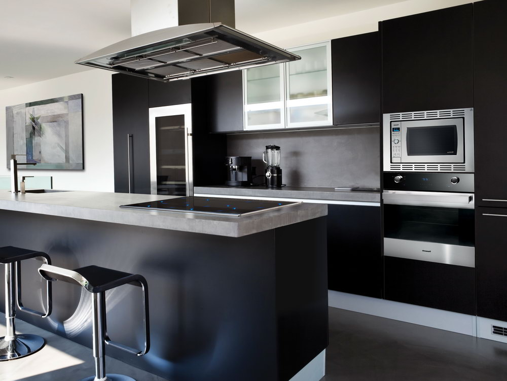 Black Kitchen Cabinets With Dark Wood Floors