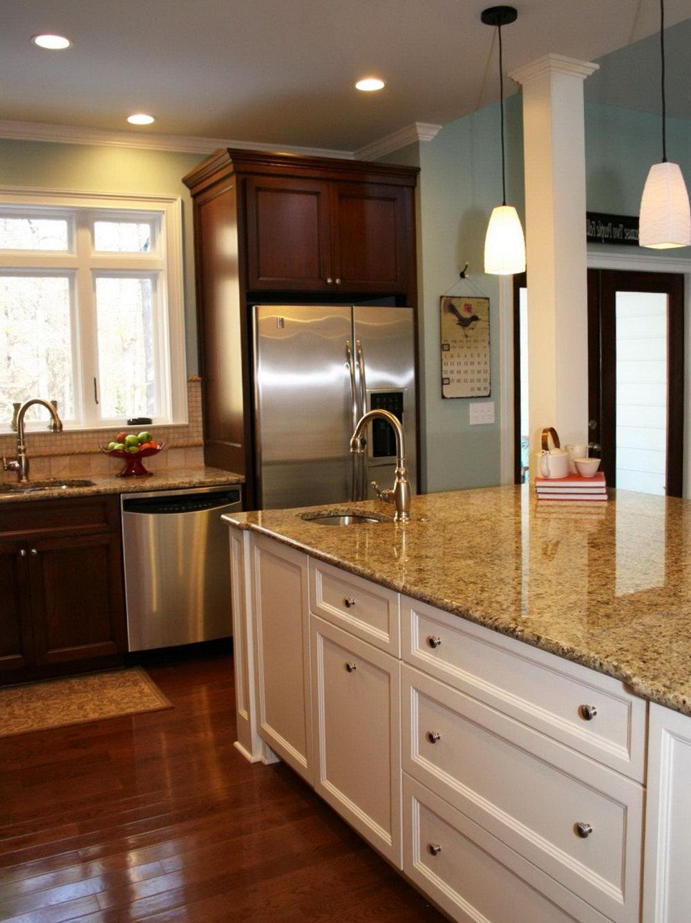 Cherry Kitchen Cabinets White Island