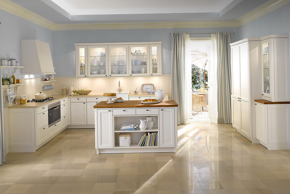 Cream Kitchen Cabinets With Blue Walls