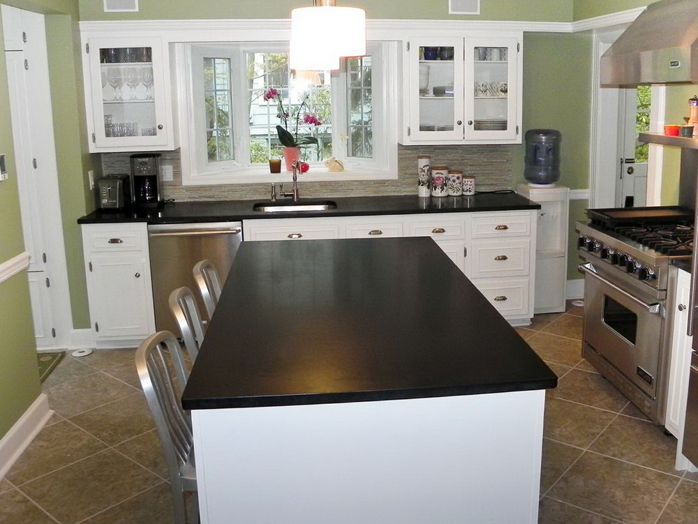 Dark Kitchen Cabinets With White Island