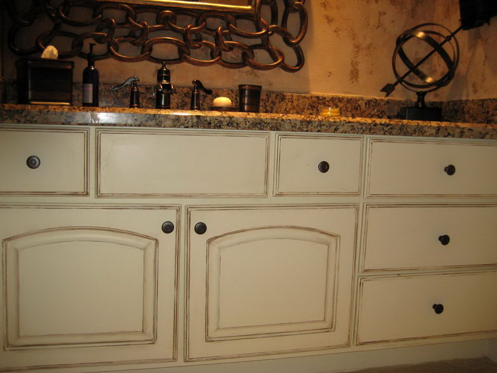 Distressed Kitchen Cabinets White