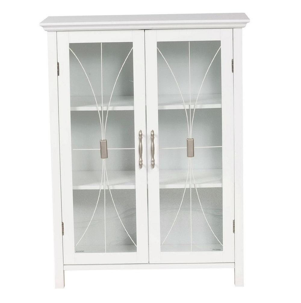 Glass Door Storage Cabinet White