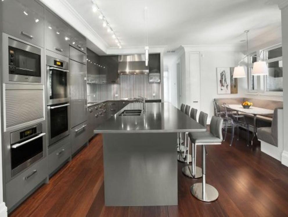 Gray Kitchen Cabinets Brass Hardware