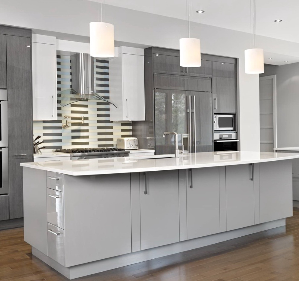 Gray Kitchen Cabinets White Appliances
