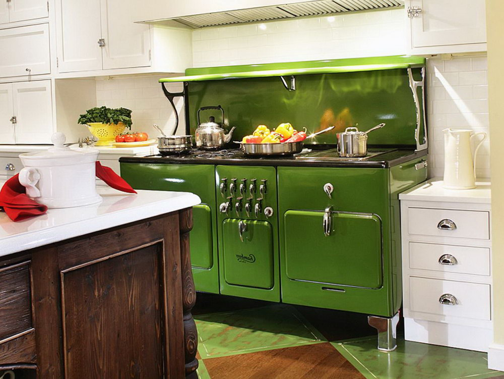 Green Kitchen Cabinets With Black Appliances