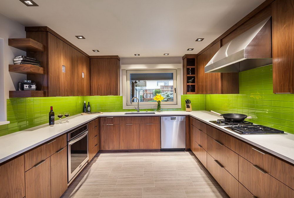 Green Kitchen Cabinets With White Countertops