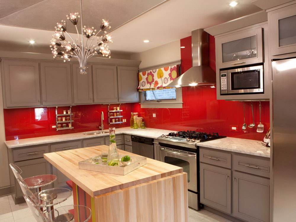 Grey Kitchen Cabinets With Red Walls