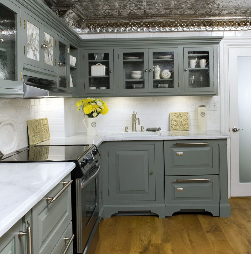 Grey Kitchen Cabinets With Wood Floors