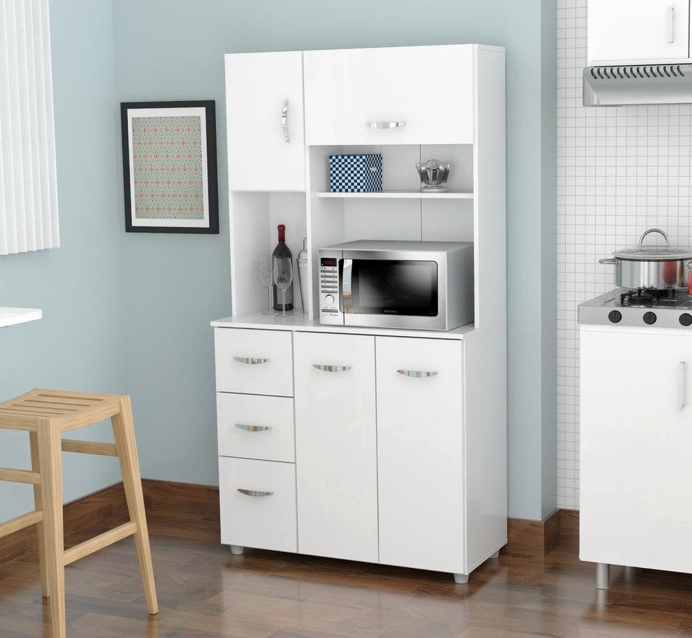 Kitchen Pantry Storage Cabinet White 4 Door & Shelves Wood Organizer Furniture