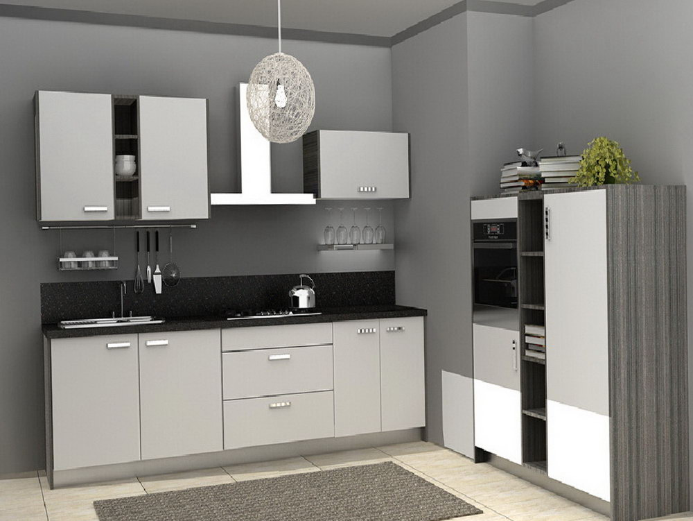 Kitchen With White Cabinets And Grey Walls