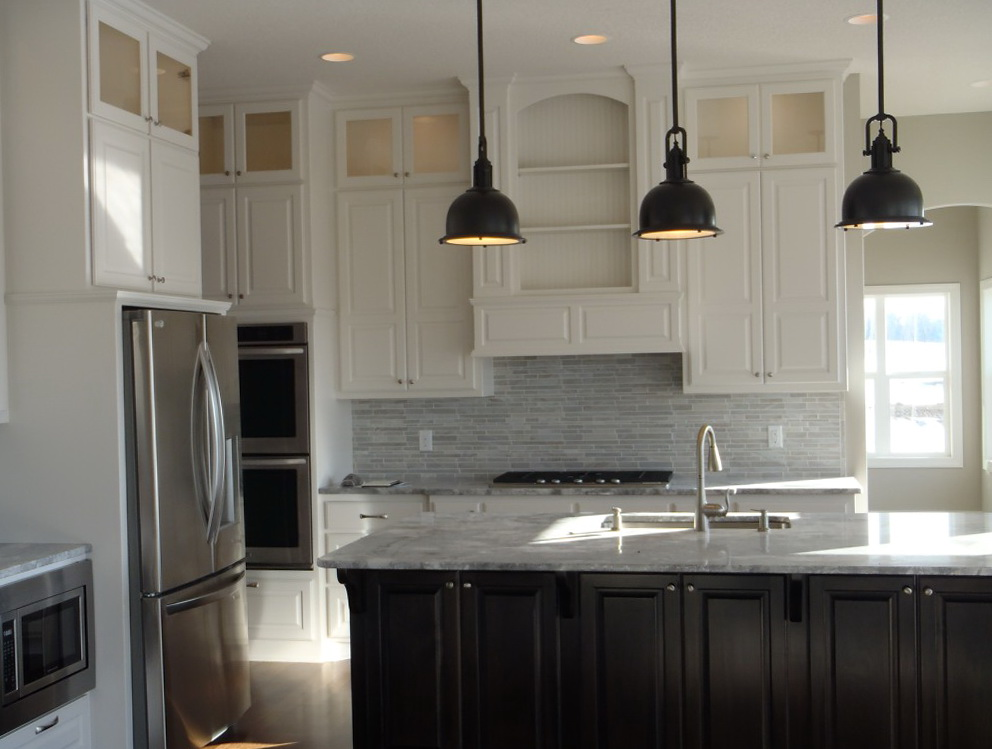 Off White Kitchen Cabinets With Dark Island