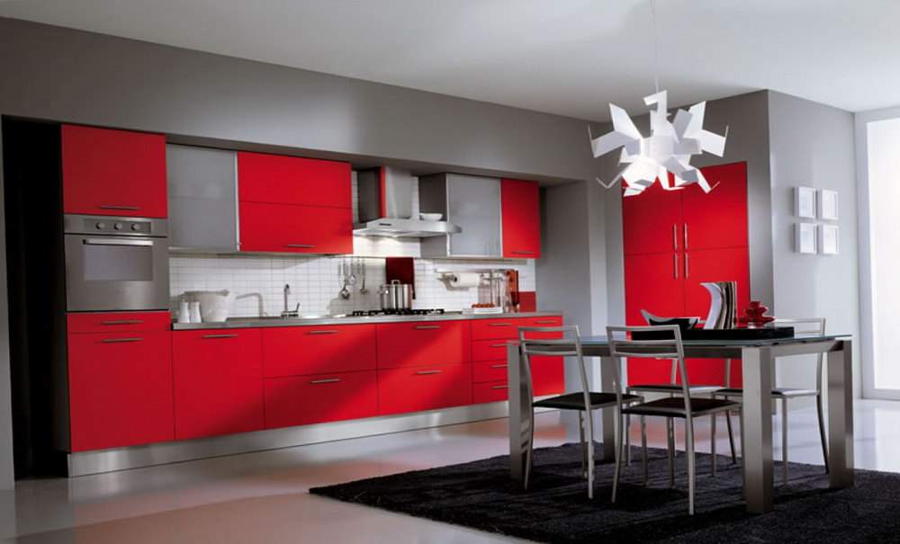 Red Kitchen Cabinets With Gray Walls