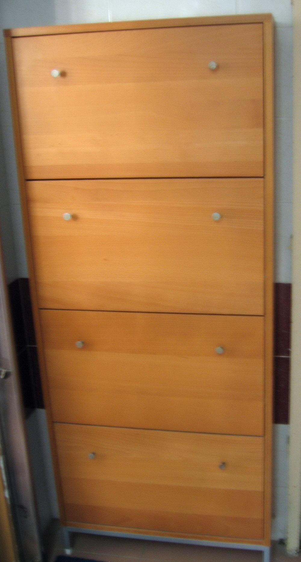 Tall Shoe Storage Cabinet Oak
