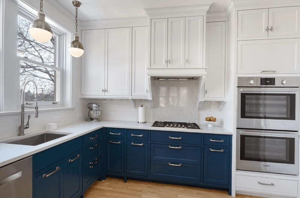 Two Tone Kitchen Cabinets Blue And White