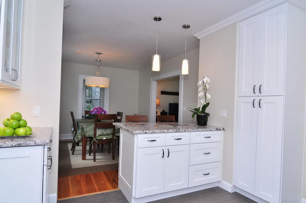 White Cabinet Kitchen Tile