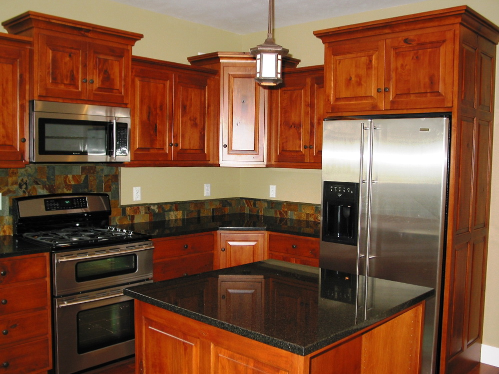Wood Kitchen Cabinets Black Granite