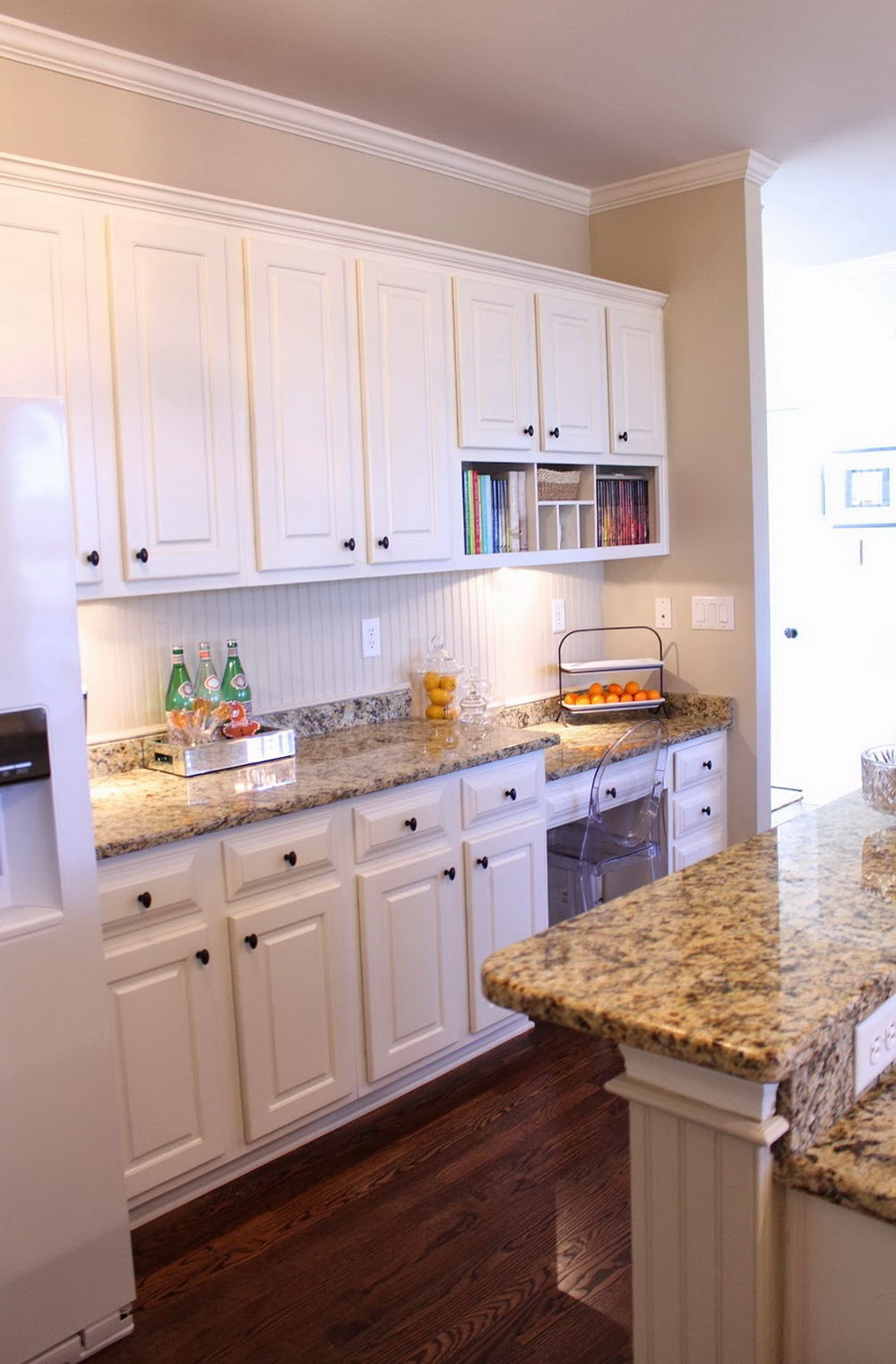 Beige Kitchen Cabinets With White Appliances