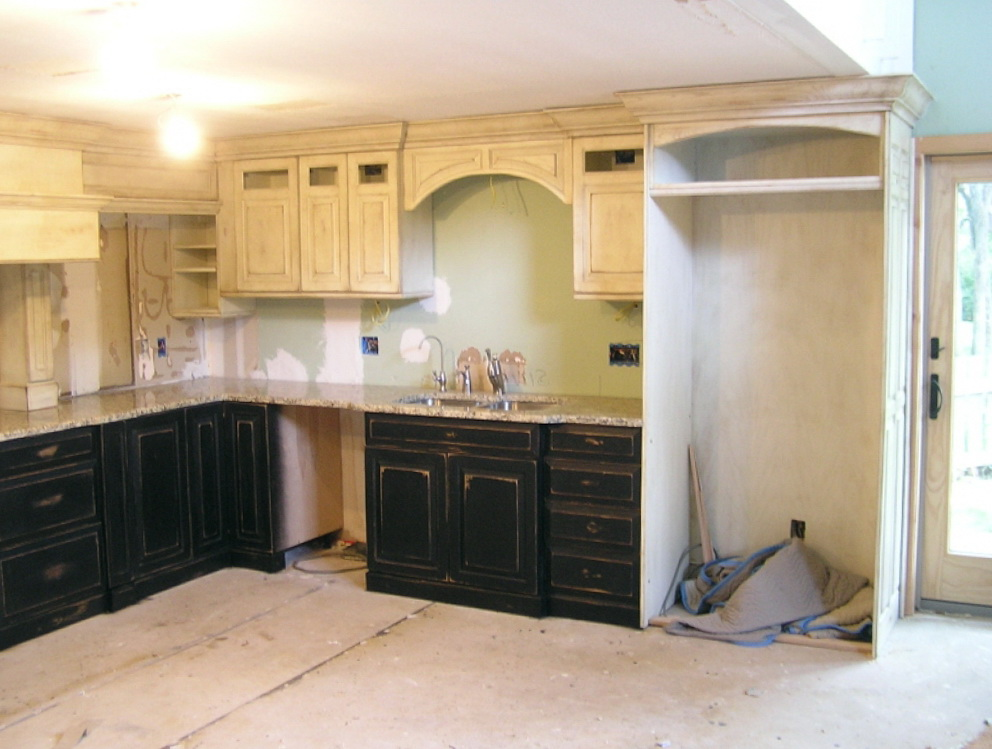 Black And White Distressed Kitchen Cabinets