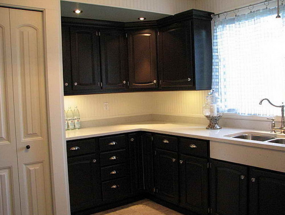 Black Beadboard Kitchen Cabinets