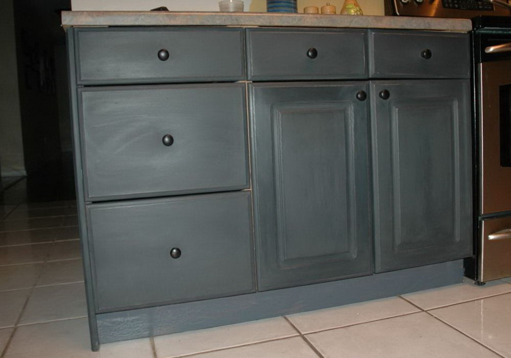 Black Chalk Painted Kitchen Cabinets