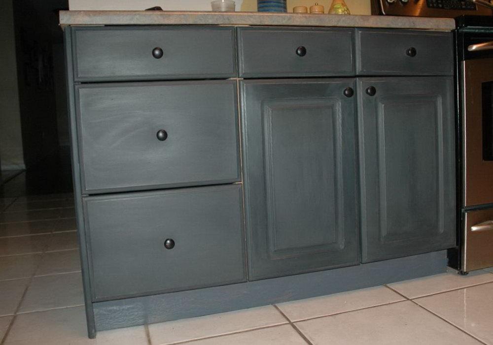 Black Chalk Painted Kitchen Cabinets