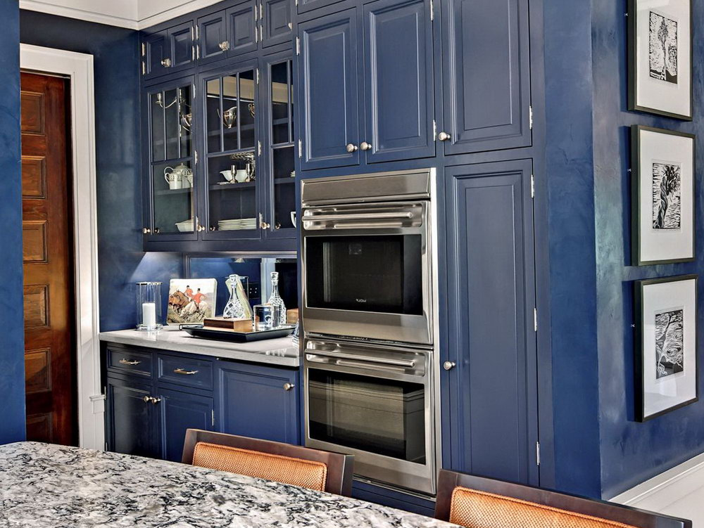 Blue Kitchen Black Cabinets