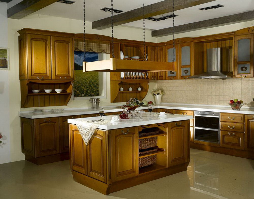 Brown Kitchen Cabinets White Countertops