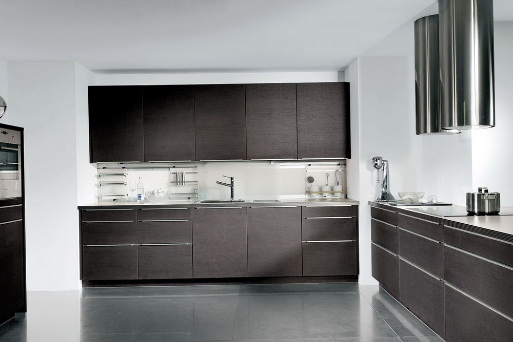 Contemporary Dark Wood Kitchen Cabinets
